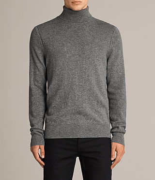Hombre Alec Roll Neck Sweater (Grey Marl) - product_image_alt_text_1