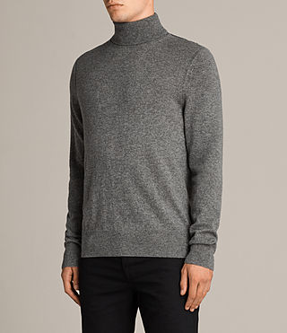Hombre Alec Roll Neck Sweater (Grey Marl) - product_image_alt_text_3