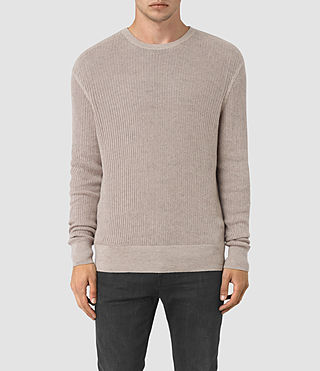 Mens Zellern Crew Sweater (Taupe Marl) - product_image_alt_text_1