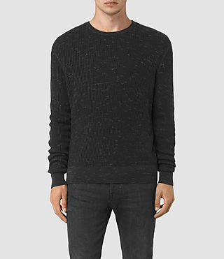 Mens Zellern Crew Jumper (Cinder Black Marl) - product_image_alt_text_1