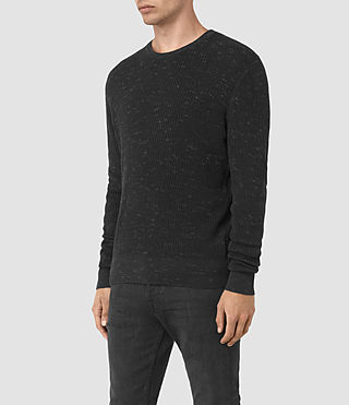 Mens Zellern Crew Jumper (Cinder Black Marl) - product_image_alt_text_3