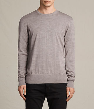 Men's Fors Merino Crew Jumper (PUTTY GREY MARL)