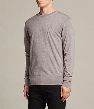 Men's Fors Merino Crew Jumper (PUTTY GREY MARL) - product_image_alt_text_2