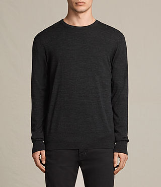 Mens Fors Merino Crew Sweater (Cinder Black Marl) - product_image_alt_text_1