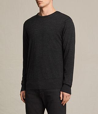 Men's Fors Merino Crew Jumper (Cinder Black Marl) - product_image_alt_text_2
