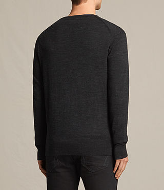 Men's Fors Merino Crew Jumper (Cinder Black Marl) - product_image_alt_text_3