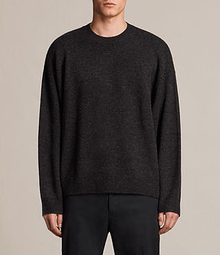 Mens Arlo Crew Sweater (Cinder Black Marl) - product_image_alt_text_1