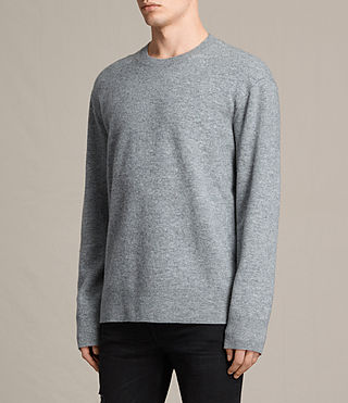 Mens Ayker Crew Sweater (Grey Marl) - product_image_alt_text_2