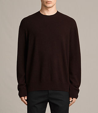 Mens Ayker Crew Sweater (Maroon Red) - product_image_alt_text_1