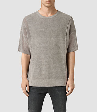 Hombres Kett Knitted T-Shirt (Military Grey)