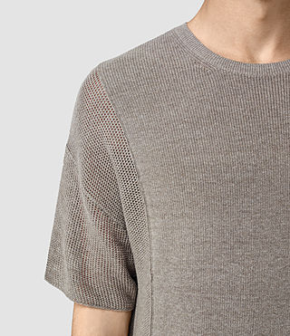 Hombres Kett Knitted T-Shirt (Military Grey) - product_image_alt_text_2