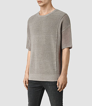 Hombres Kett Knitted T-Shirt (Military Grey) - product_image_alt_text_3