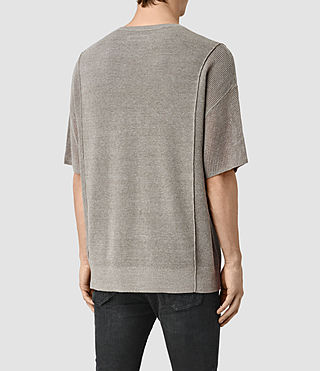 Hombres Kett Knitted T-Shirt (Military Grey) - product_image_alt_text_4