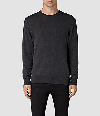 Mens Leithen Crew Jumper (Cinder Black Marl) - product_image_alt_text_1