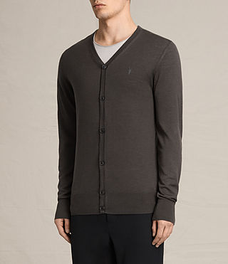 Hombres Mode Merino Cardigan (Military Brown) - product_image_alt_text_3