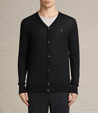 Mens Mode Merino Cardigan (Black) - product_image_alt_text_1