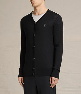Mens Mode Merino Cardigan (Black) - product_image_alt_text_2