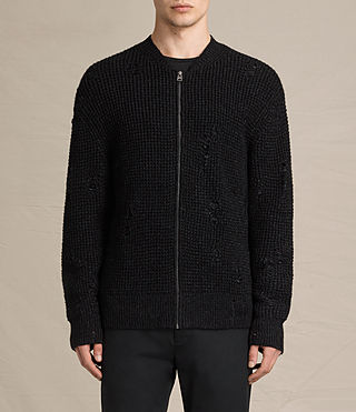 Hombre Vektarr Zip Through Sweater (Black)