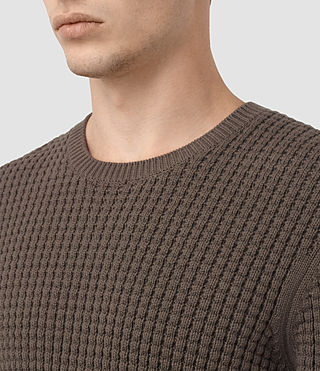 Hombres Kargg Crew Jumper (Pewter Brown) - product_image_alt_text_2