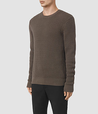 Hombres Kargg Crew Jumper (Pewter Brown) - product_image_alt_text_3