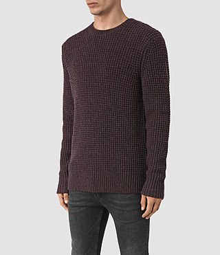 Hombres Tornn Crew Jumper (DAMSON RED MARL) - product_image_alt_text_3