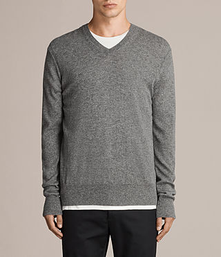 Men's Alec V Neck Jumper (Grey Marl) - Image 1