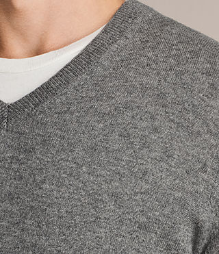 Men's Alec V Neck Jumper (Grey Marl) - product_image_alt_text_2