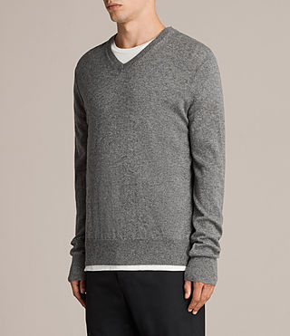 Men's Alec V Neck Jumper (Grey Marl) - product_image_alt_text_3