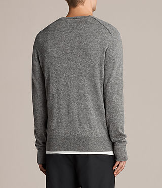 Men's Alec V Neck Jumper (Grey Marl) - product_image_alt_text_4