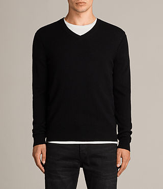 Men's Alec V Neck Jumper (Black) - Image 1