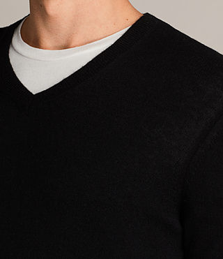 Men's Alec V Neck Jumper (Black) - Image 2