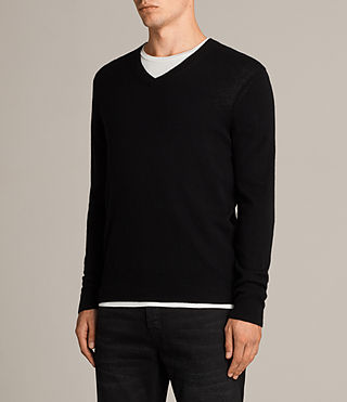 Men's Alec V Neck Jumper (Black) - Image 3