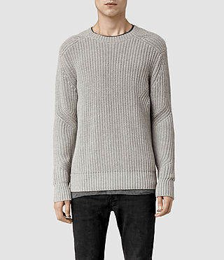 Mens Moat Crew Sweater (Light Grey Marl)