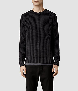 Mens Moat Buttoned Crew Sweater (Dark Charcoal)