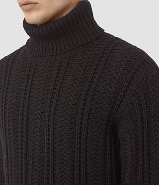 Mens Fiske Funnel Neck Sweater (BITTER BLACK MARL) - product_image_alt_text_2