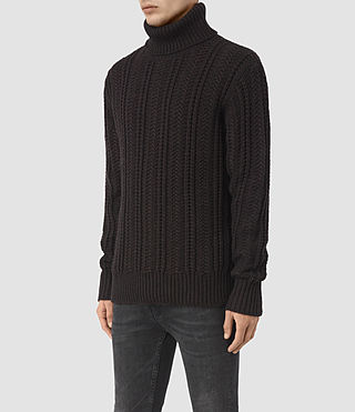 Mens Fiske Funnel Neck Sweater (BITTER BLACK MARL) - product_image_alt_text_3