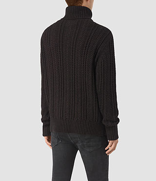 Mens Fiske Funnel Neck Sweater (BITTER BLACK MARL) - product_image_alt_text_4