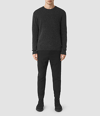Mens Hiru Cashmere Crew Sweater (Dark Charcoal Mrl)