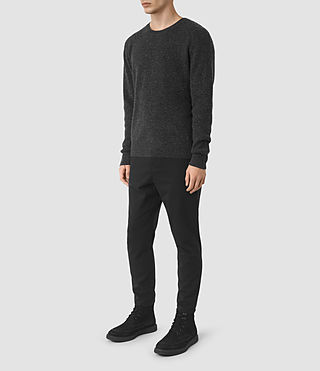 Mens Hiru Cashmere Crew Sweater (Dark Charcoal Mrl) - product_image_alt_text_2