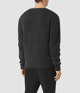 Mens Hiru Cashmere Crew Sweater (Dark Charcoal Mrl) - product_image_alt_text_3