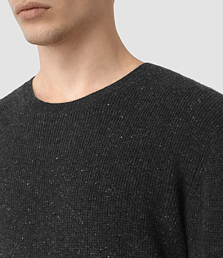 Mens Hiru Cashmere Crew Sweater (Dark Charcoal Mrl) - product_image_alt_text_4
