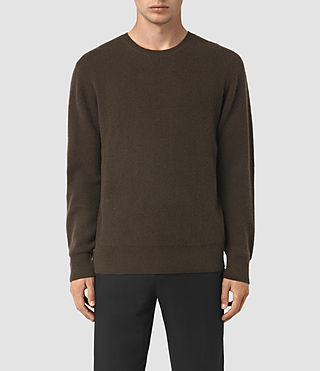 Mens Hiru Cashmere Crew Sweater (Umber Brown) - product_image_alt_text_1