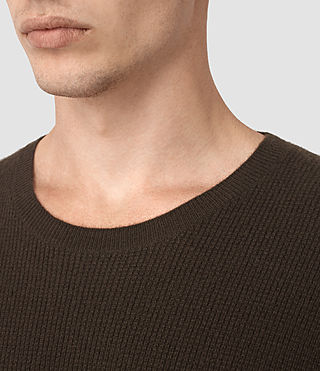 Mens Hiru Cashmere Crew Sweater (Umber Brown) - product_image_alt_text_2