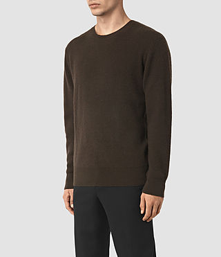 Mens Hiru Cashmere Crew Sweater (Umber Brown) - product_image_alt_text_3