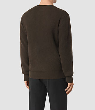 Mens Hiru Cashmere Crew Sweater (Umber Brown) - product_image_alt_text_4
