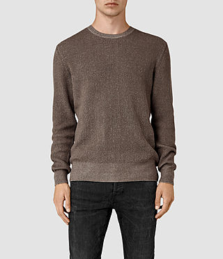 Hombres Serle Crew Jumper (Washed Khaki Brown) -