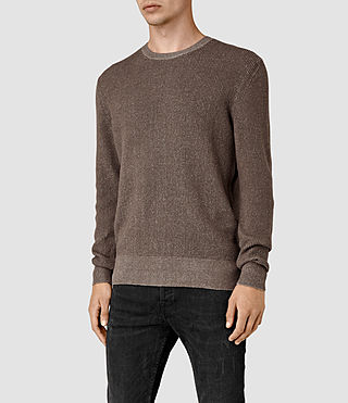 Mens Serle Crew Sweater (Washed Khaki Brown) - product_image_alt_text_2