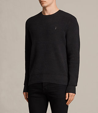 Hommes Trias Crew Jumper (Cinder Black Marl) - product_image_alt_text_2