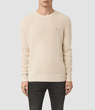 Mens Trias Crew Sweater (Ecru Taupe Marl)