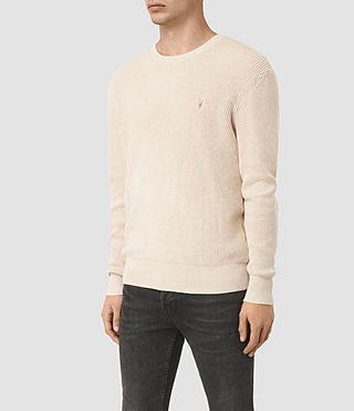 Mens Trias Crew Sweater (Ecru Taupe Marl) - product_image_alt_text_2